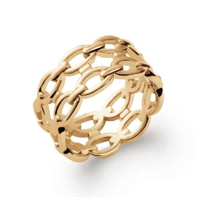 Ring Chain rigide double Gold plated 18k - Women