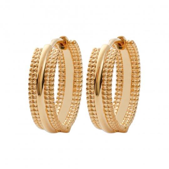 Hoop Earrings plates larges 20mm perlées Gold plated 18k...