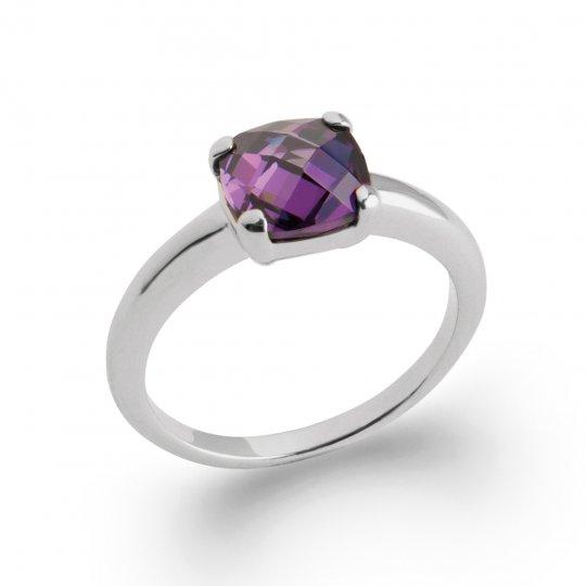 Bague de fiançailles pierre violette Argent Rhodié -...