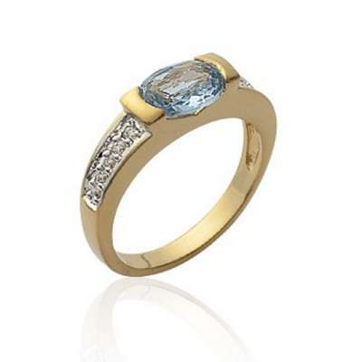 Ring pierre bleue Gold plated 18k Crystal - Ring grande...