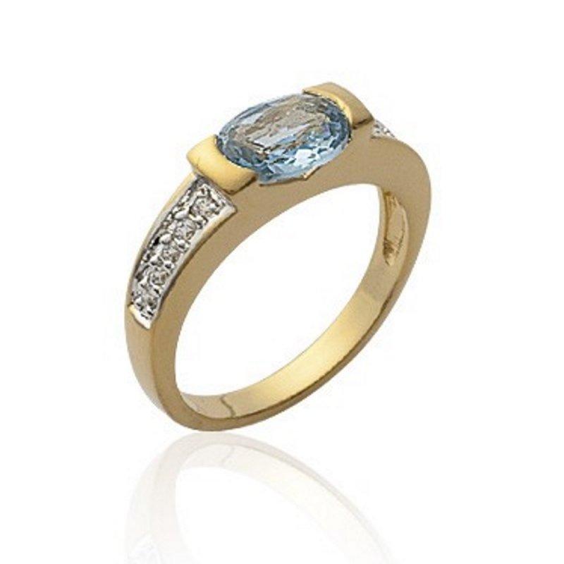 06281504c7d3 Anillo Solitario Cristal Bleu Clair Translucide Ornée de pierre  micro-serties Mujer Chapado en Oro 18K