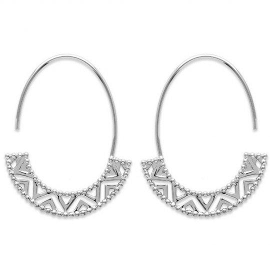 Hoop Earrings Ouvertes Motif Aztèque Argent Rhodié - Women