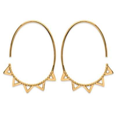 Hoop Earrings ouvertes avec petits Triangles Gold plated...
