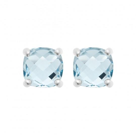 Clous d'Oreilles pierres bleues clair Argent Rhodié - Femme