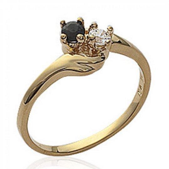 Ring de fiançailles toi et moi Onyx Gold plated 18k -...