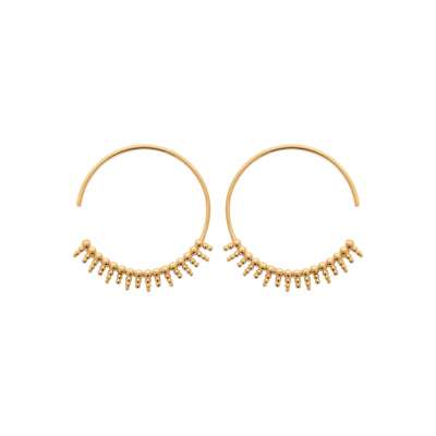Hoop Earrings stalagtites ouvertes 30mm Gold plated 18k -...