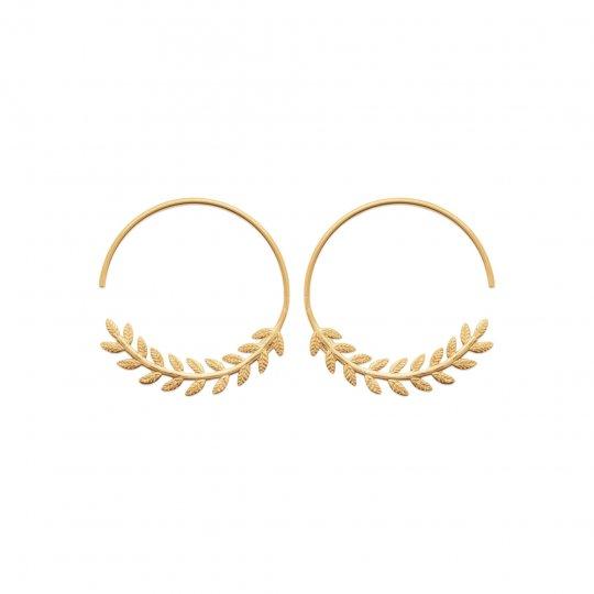 Hoop Earrings Bay leaf ouvertes Gold plated 18k 30mm - Women