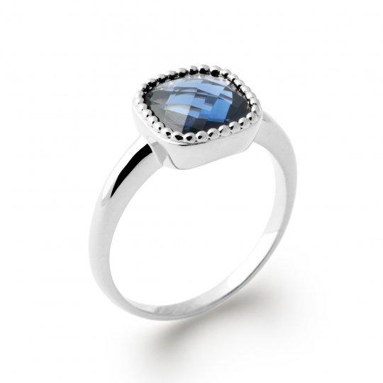 Ring de promesse pierre bleue facetée carrée Argent Rhodié