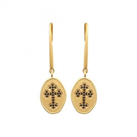Boucles d'Oreilles pendantes croix catholique pierres...
