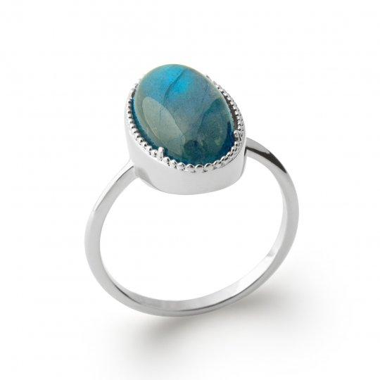 Bague grosse pierre bleue...