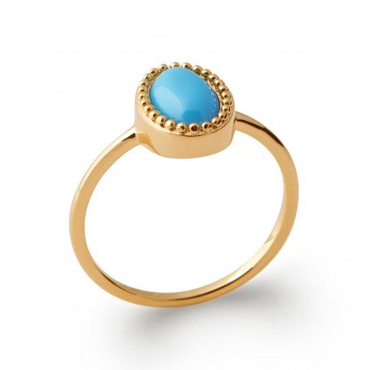 Fine bague de promesse petite pierre bleue Plaqué Or - Femme