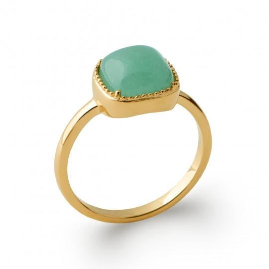 Ring fine cabochon vert aventurine Gold plated 18k - Women