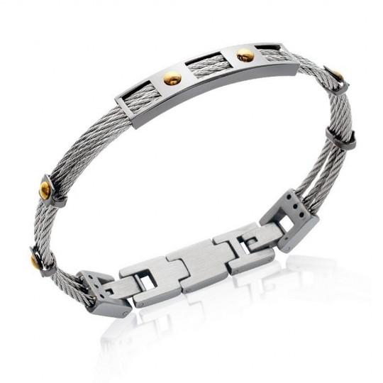 Bracelet Câble Acier 316L - Carbone - Homme - 20cm