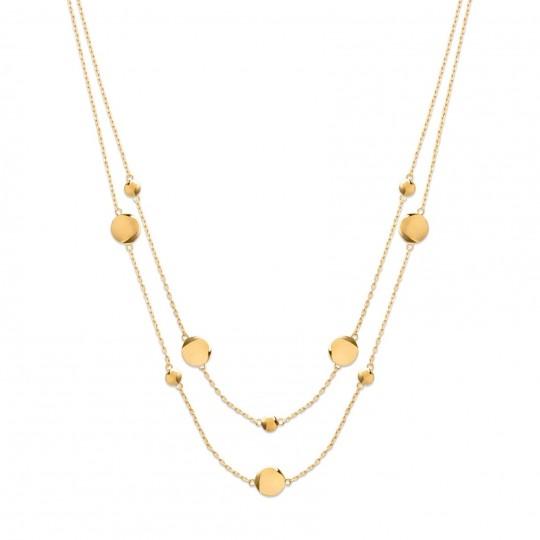 Collar ras de cou double rang Chapado en Oro 18K - Mujer...