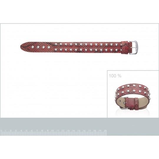 Bracelet Cuir Serpent Rouge...