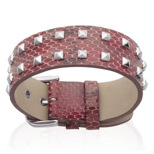 Bracelet Cuir Serpent Rouge à pointes - Femme - 19cm