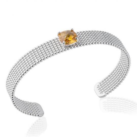 Manchette perlée pierre couleur ambre 9mm Argent Rhodié -...