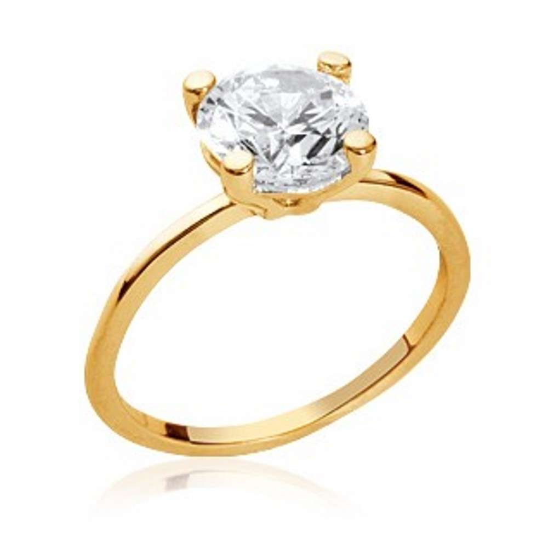 Ring de fiançailles Solitaire Gold plated 18k - Cubic Zirconia 9mm