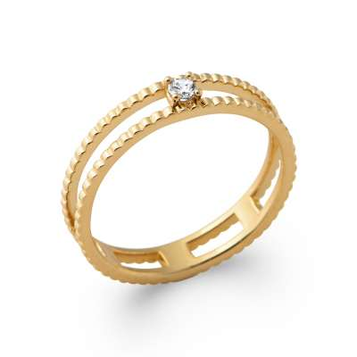 Ring double anneau petit Solitaire Gold plated 18k -...