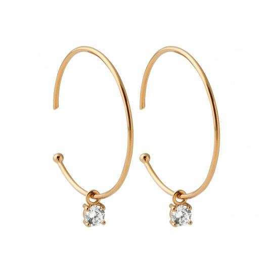 Hoop Earrings ouverte pierre  Cubic Zirconia 30mm Gold...