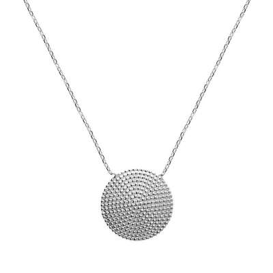 Collier medaillon Argent Rhodié rond perlé - Femme - 45cm