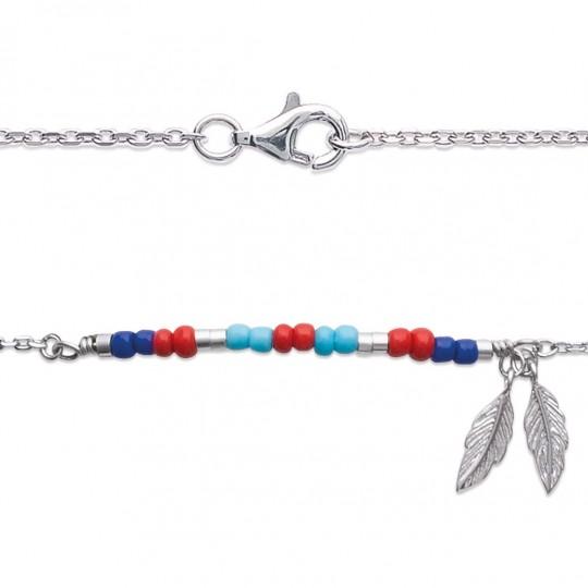 Bracelet Bohémien multicolore Plumes Argent Rhodié - 18cm