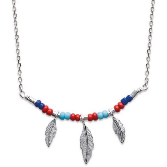 Necklace Bohémien multicolore Feathers Argent Rhodié - 45cm