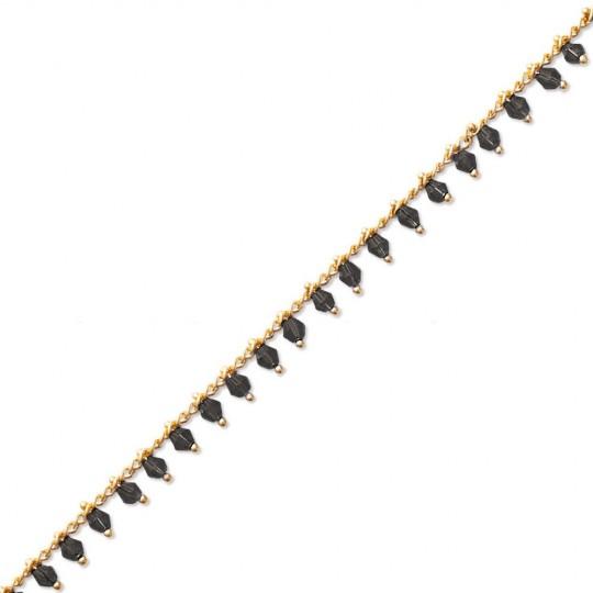 Bracelet Gipsy bohème Plaqué Or - Cristal noir - 16/18cm