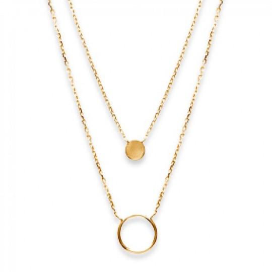 Double Halskette Anneaux Vergoldet 18k - Damen - 40cm
