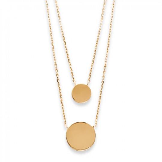 Double Collier Médaillons Gravables Plaqué Or - Femme - 45cm