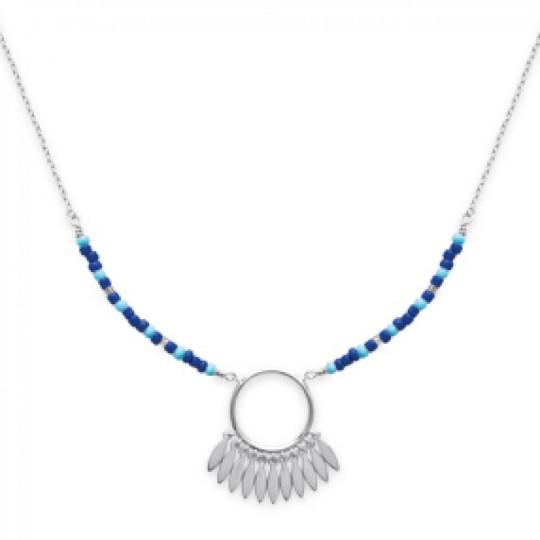 Necklace Dreamcatcher bleu Argent Rhodié - Dreamcatcher -...