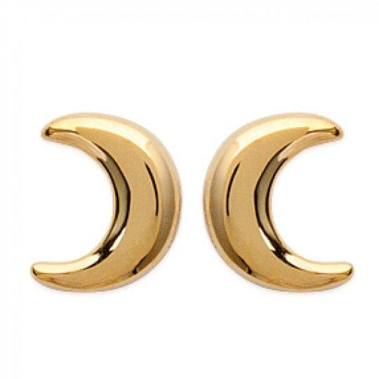 Boucles d'oreilles puces Croissant de Lune Plaqué Or - Femme