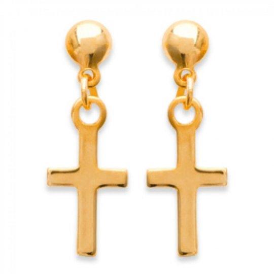 Boucles d'Oreilles Croix catholique Plaqué Or - Femme