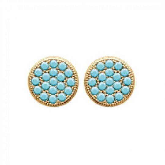 Boucles d'oreilles puces rondes pierres turquoises Plaqué Or
