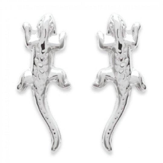 Boucles d'oreilles puces Margouillat Gecko Argent Massif...