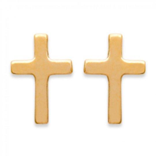 Boucles d'oreilles puces Croix catholique Plaqué Or - Femme